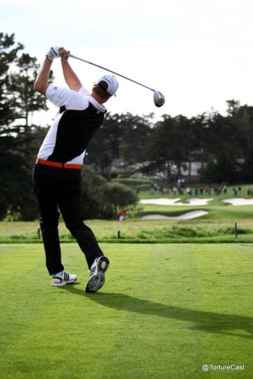 Matt Cain tees off on the third hole at Pebble Beach on 2/10/15.