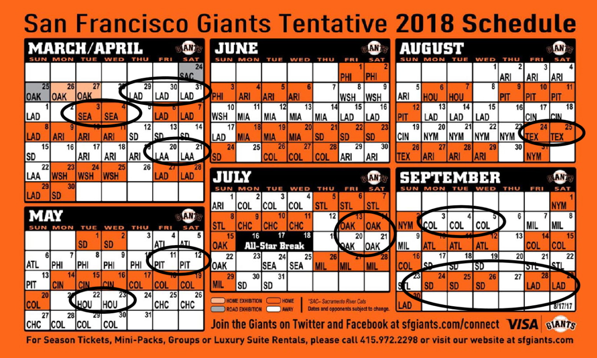 Circle These Dates On Your 2018 SF Giants Schedule | The TortureCast