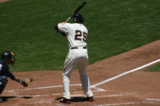 Bonds in his first AB against Mike Mussina and the New York Yankees on June 24, 2007. Photo by Chad King.