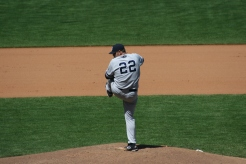Roger Clemens of the Yankees delivers a pitch against the SF Giants on June 24, 2007. Photo by Chad King.