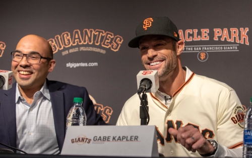 Gabe Kapler and Farhan Zaidi of the San Francisco Giants